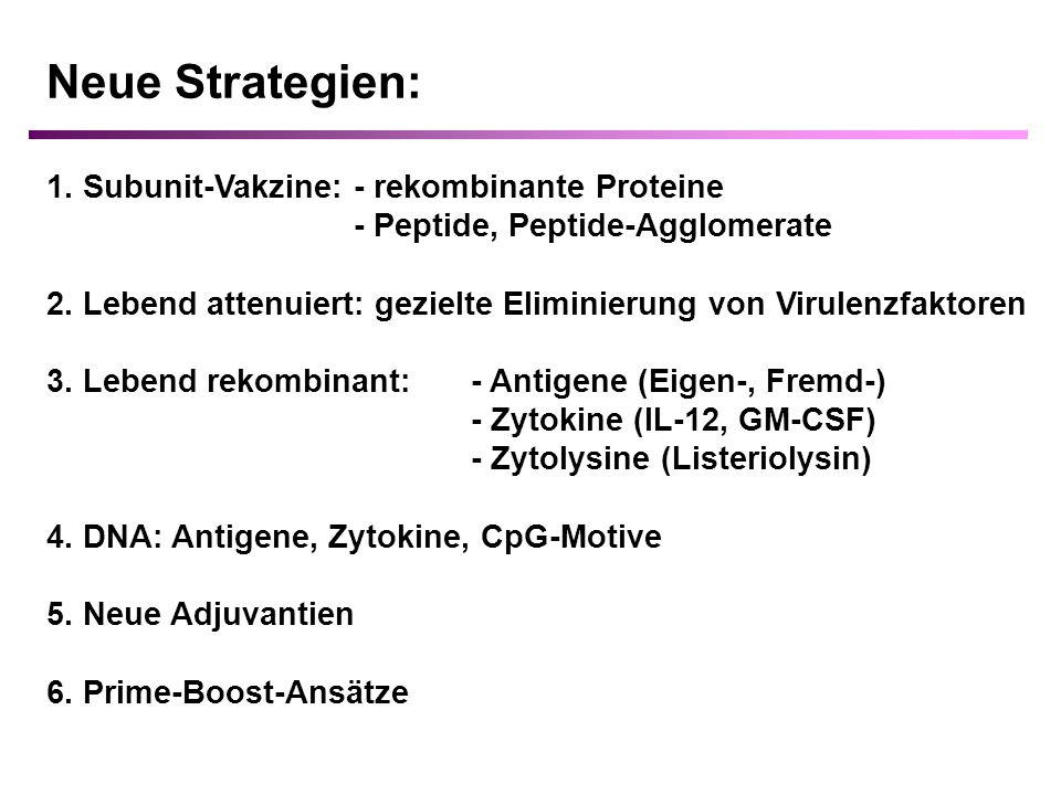Neue Strategien: 1. Subunit-Vakzine: - rekombinante Proteine