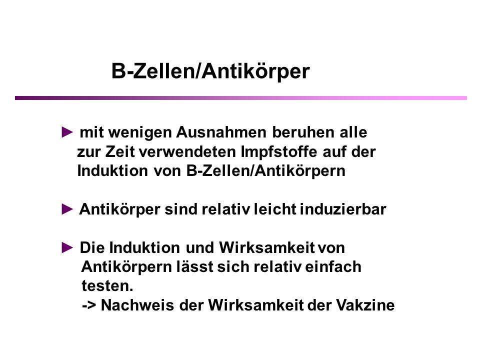 B-Zellen/Antikörper ► mit wenigen Ausnahmen beruhen alle
