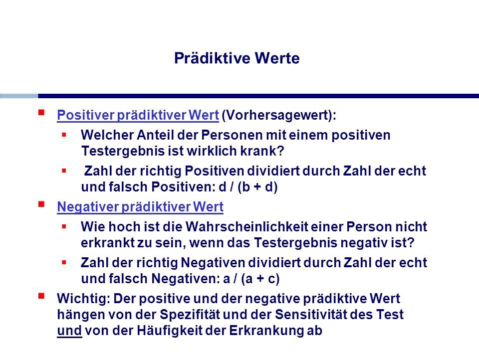 Prädiktive Werte Positiver prädiktiver Wert (Vorhersagewert):