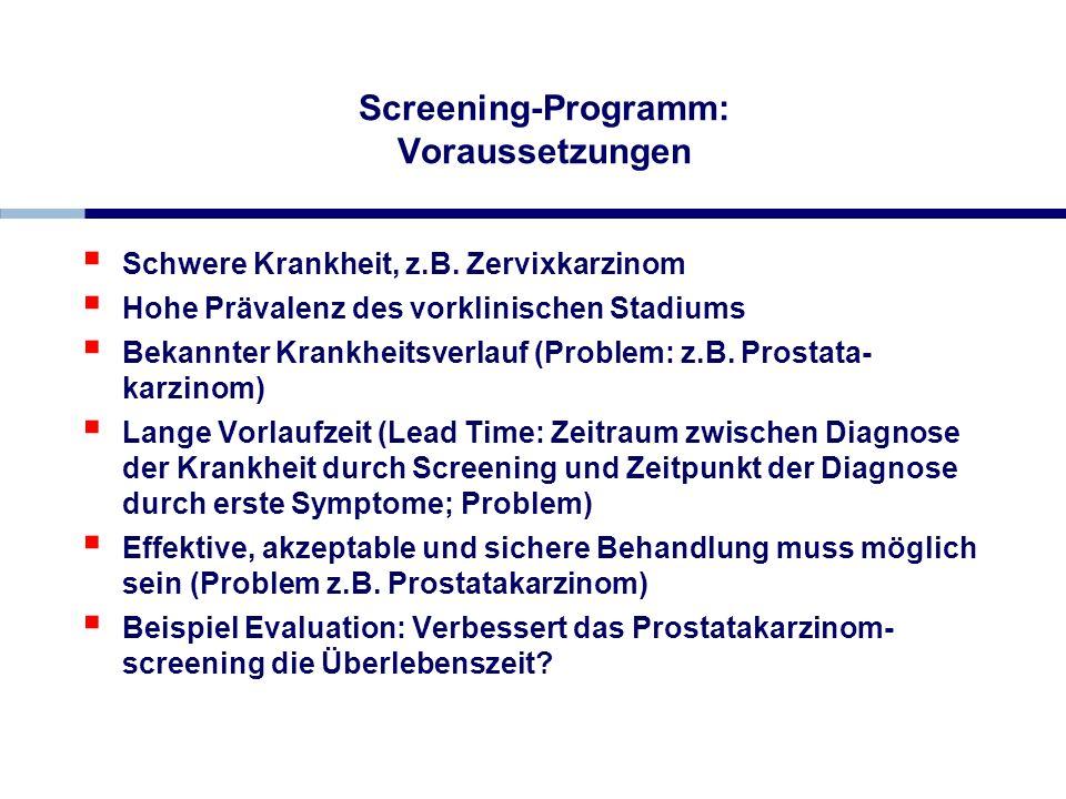 Screening-Programm: Voraussetzungen