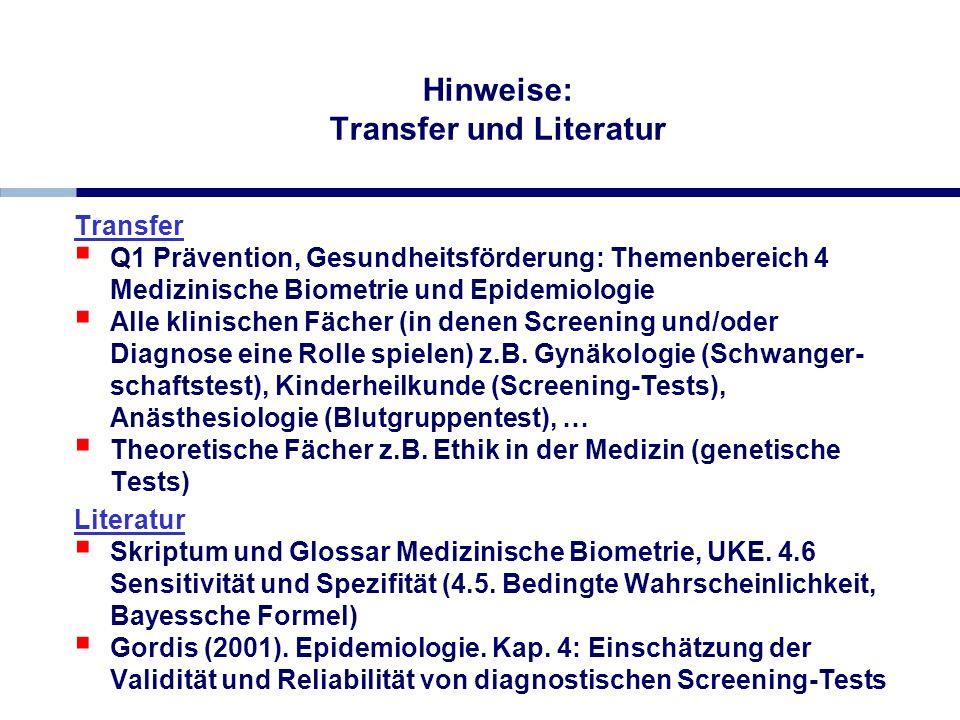 Hinweise: Transfer und Literatur