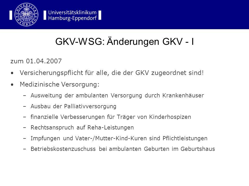 GKV-WSG: Änderungen GKV - I
