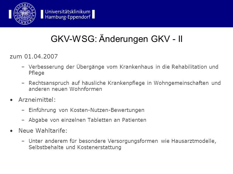 GKV-WSG: Änderungen GKV - II