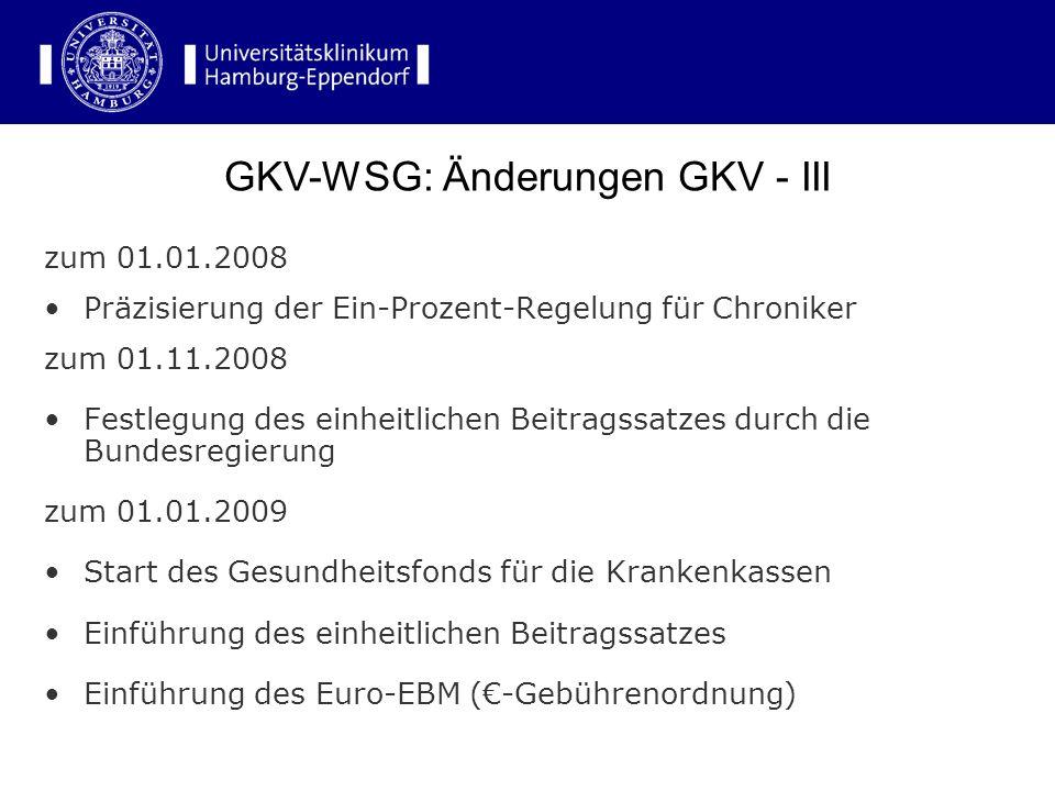 GKV-WSG: Änderungen GKV - III