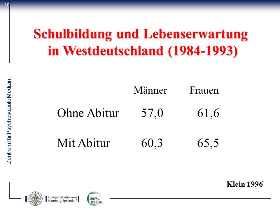 Schulbildung und Lebenserwartung in Westdeutschland (1984-1993)