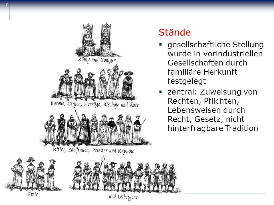 Stände gesellschaftliche Stellung wurde in vorindustriellen Gesellschaften durch familiäre Herkunft festgelegt.