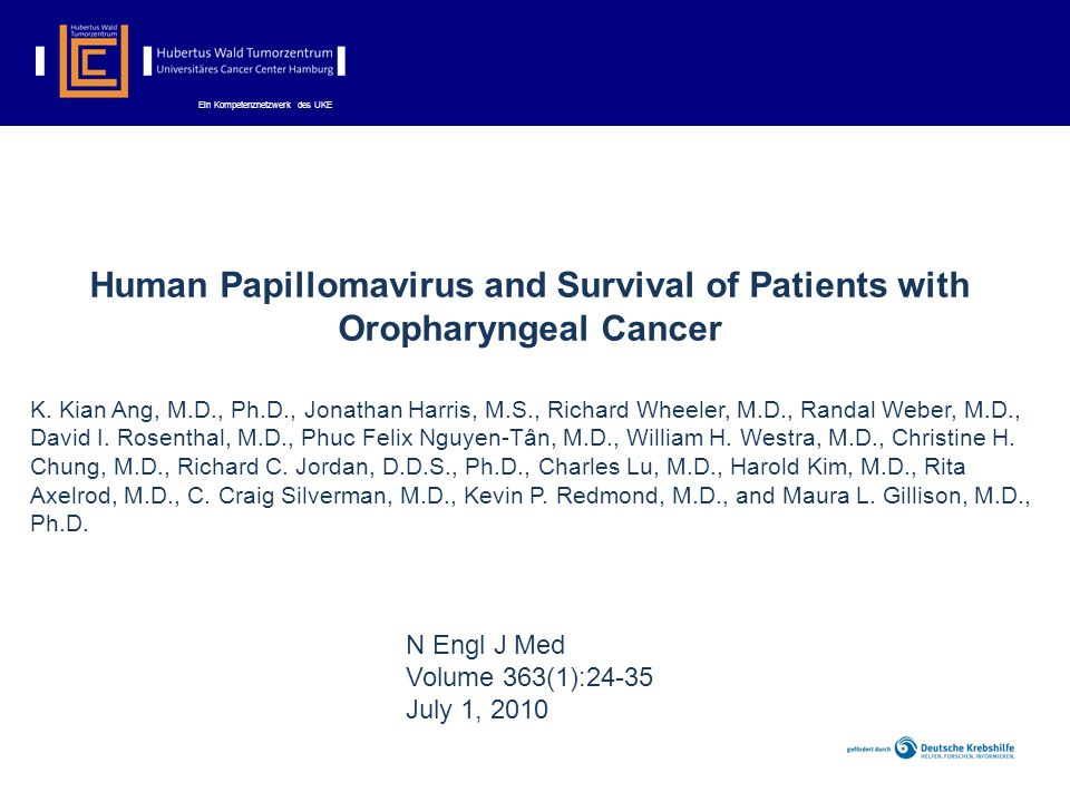 Human Papillomavirus and Survival of Patients with Oropharyngeal Cancer