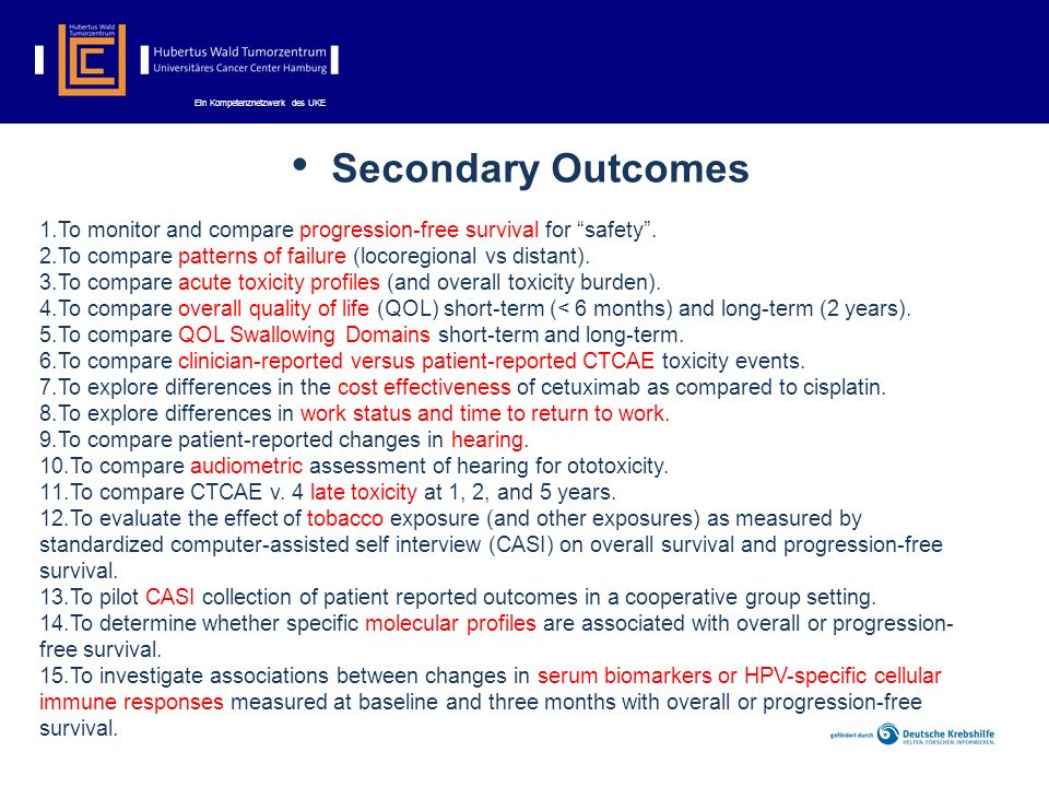 Secondary Outcomes To monitor and compare progression-free survival for safety . To compare patterns of failure (locoregional vs distant).