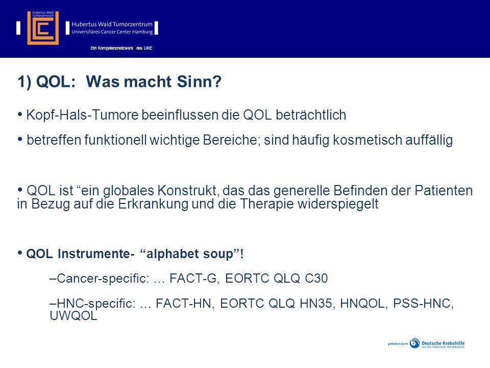1) QOL: Was macht Sinn Kopf-Hals-Tumore beeinflussen die QOL beträchtlich.