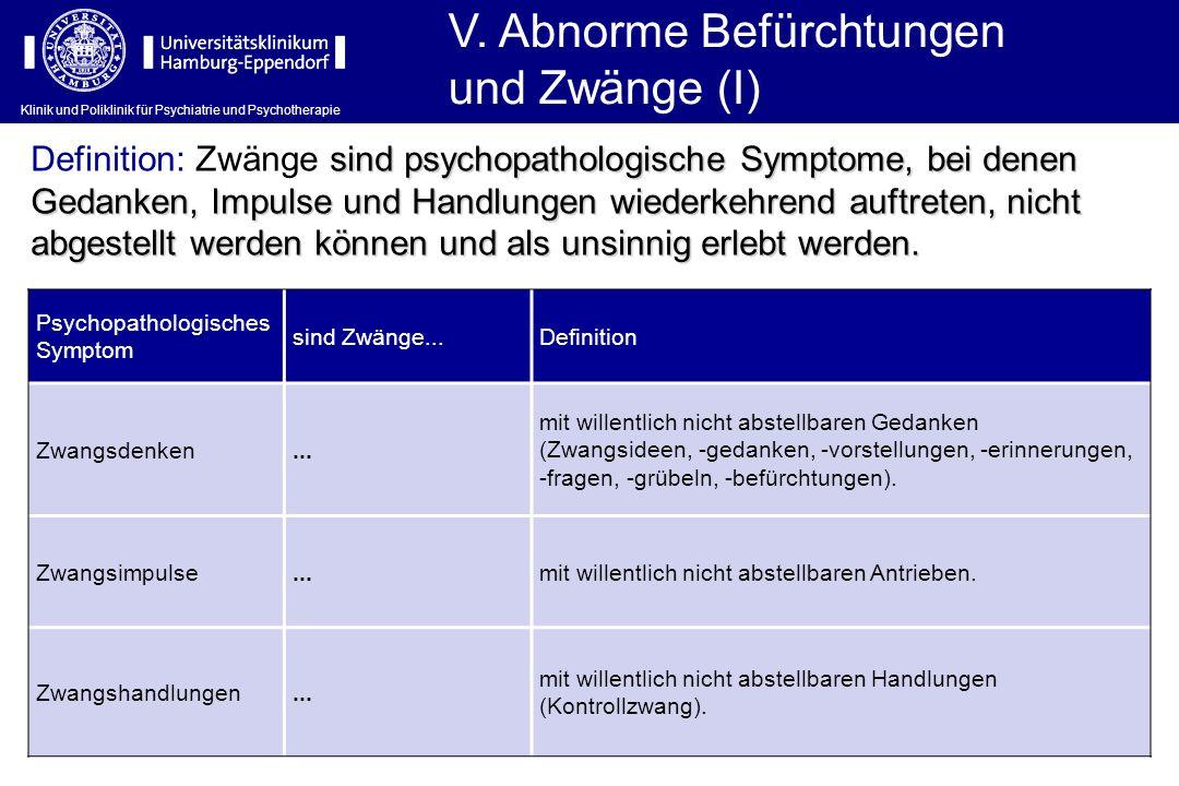 V. Abnorme Befürchtungen und Zwänge (I)