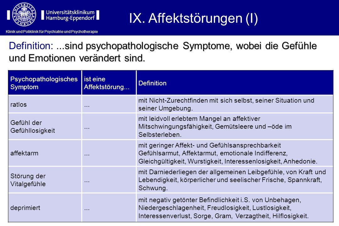 IX. Affektstörungen (I)