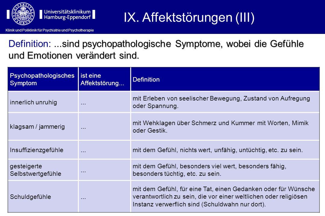 IX. Affektstörungen (III)