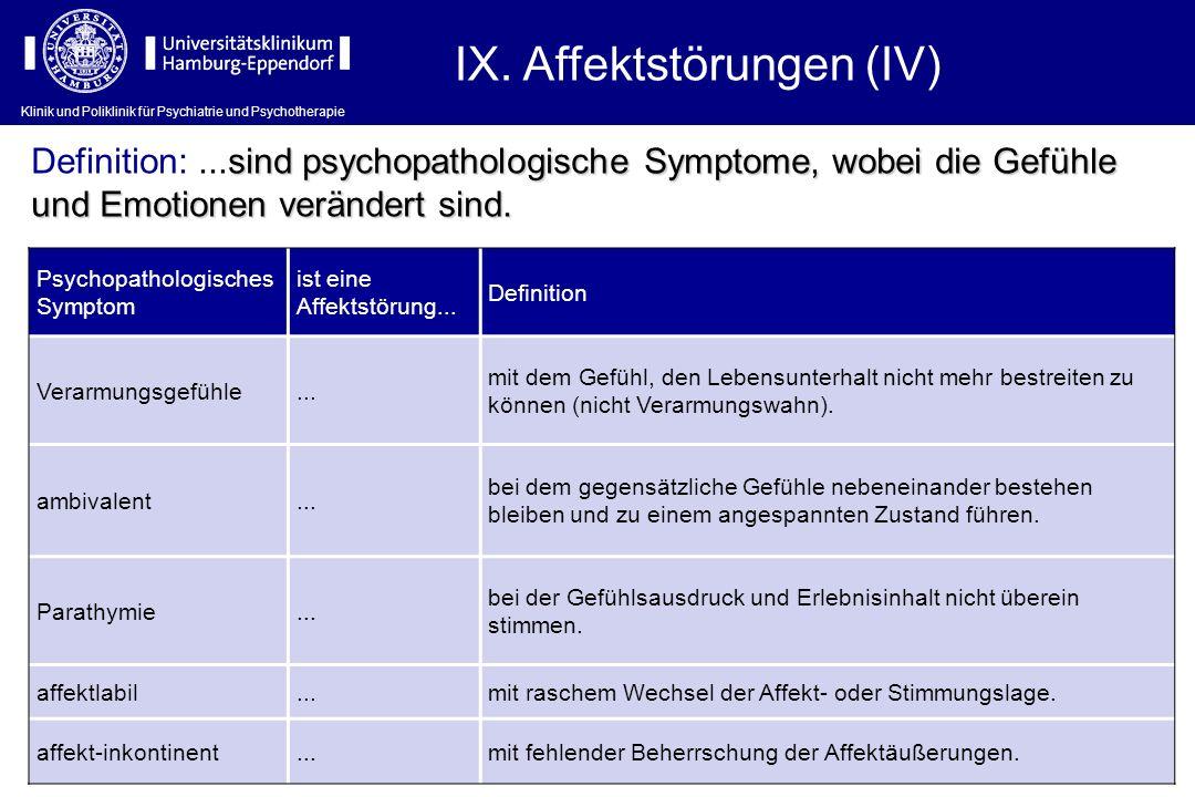 IX. Affektstörungen (IV)