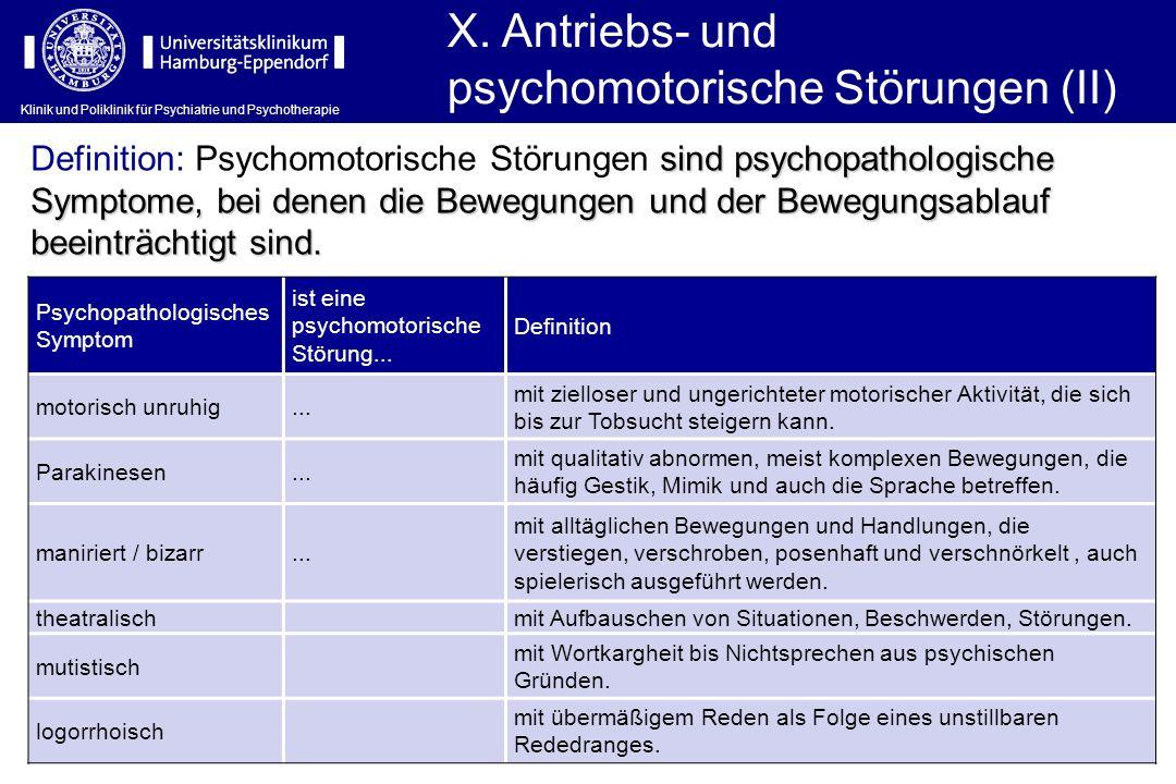 X. Antriebs- und psychomotorische Störungen (II)