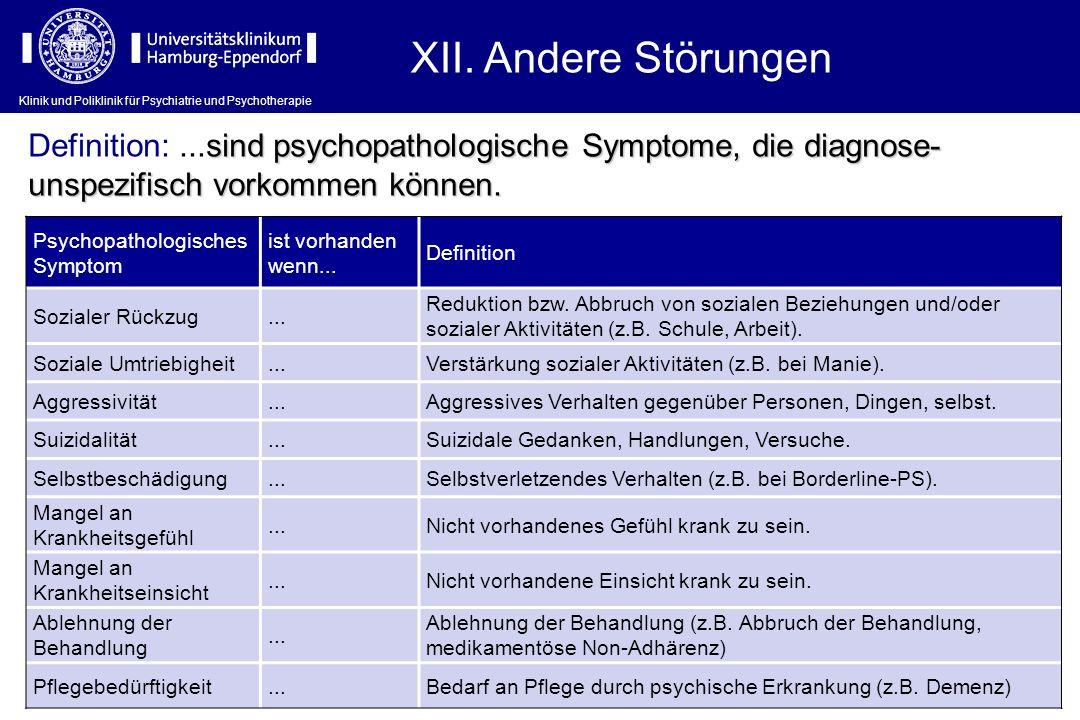 XII. Andere Störungen Definition: ...sind psychopathologische Symptome, die diagnose-unspezifisch vorkommen können.