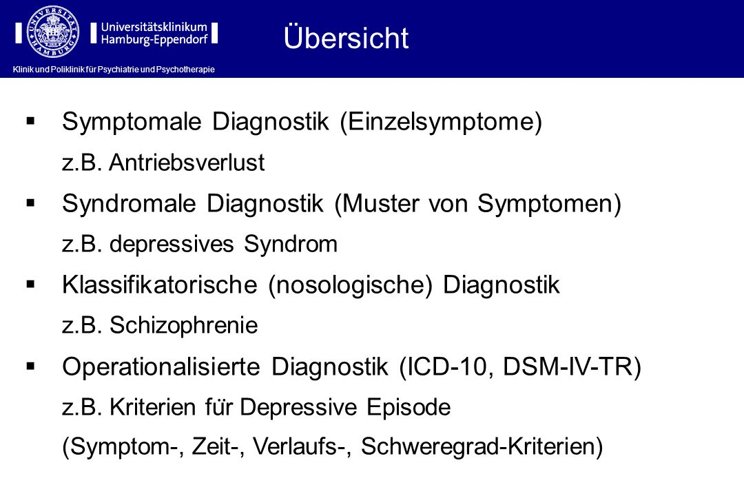 Übersicht Symptomale Diagnostik (Einzelsymptome)