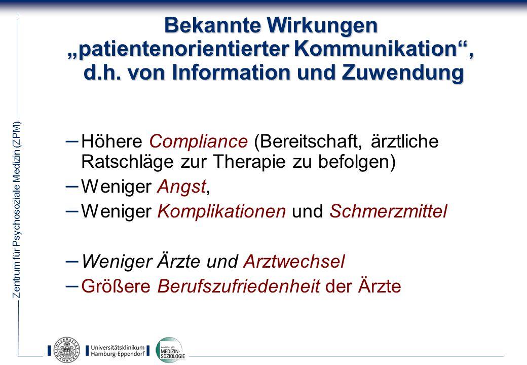 """Bekannte Wirkungen """"patientenorientierter Kommunikation , d. h"""