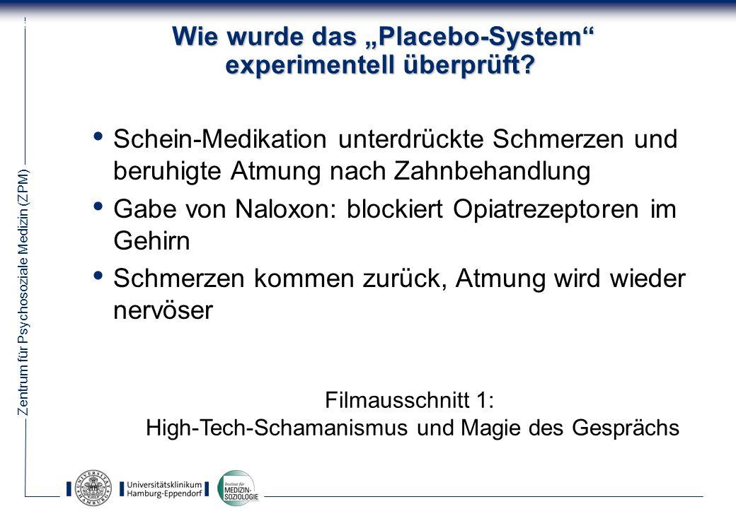 """Wie wurde das """"Placebo-System experimentell überprüft"""