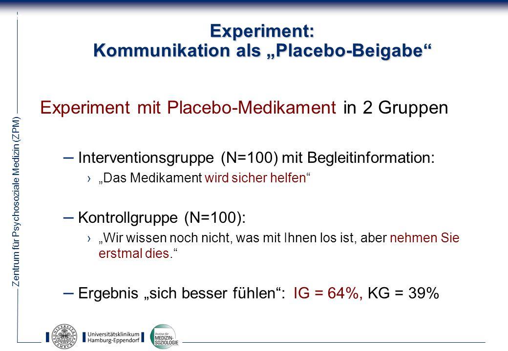 "Experiment: Kommunikation als ""Placebo-Beigabe"