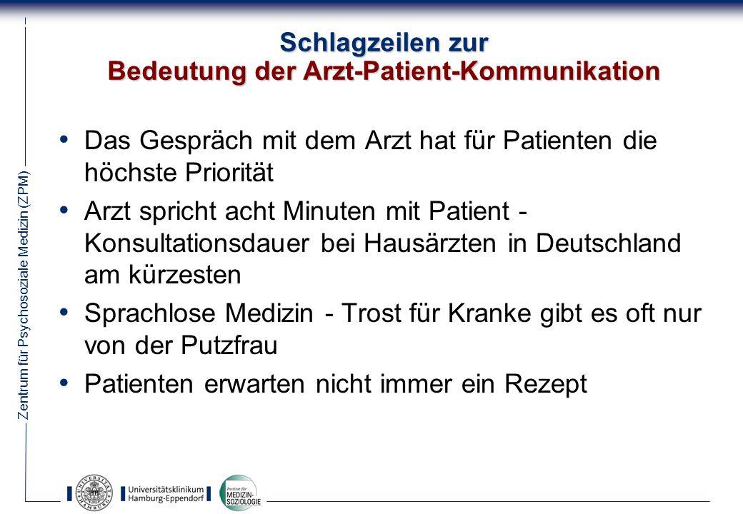 Schlagzeilen zur Bedeutung der Arzt-Patient-Kommunikation