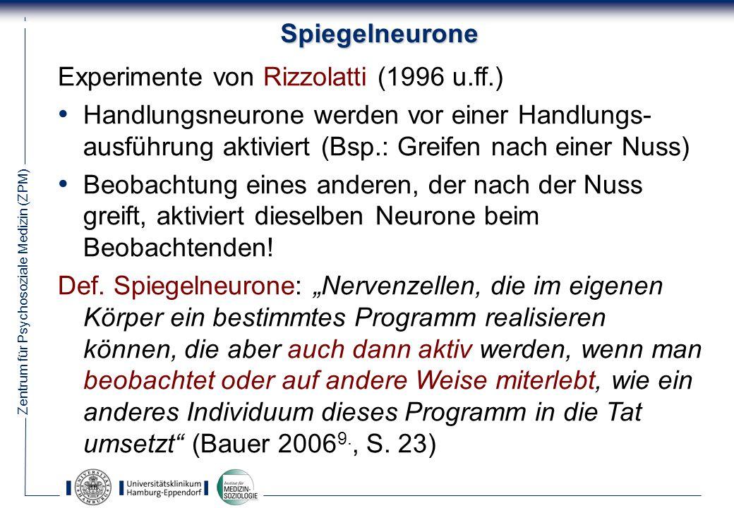 Spiegelneurone Experimente von Rizzolatti (1996 u.ff.)