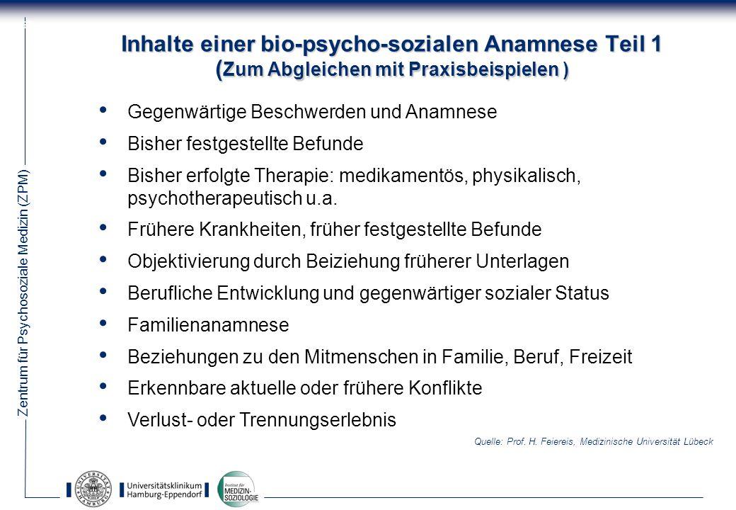 Inhalte einer bio-psycho-sozialen Anamnese Teil 1 (Zum Abgleichen mit Praxisbeispielen )