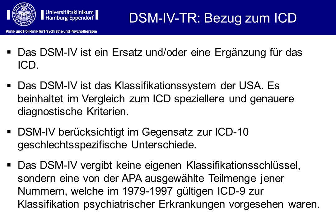 DSM-IV-TR: Bezug zum ICD