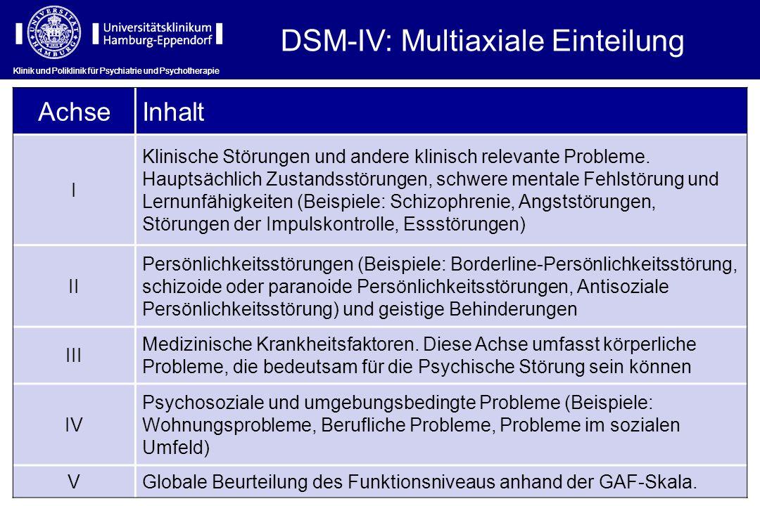 DSM-IV: Multiaxiale Einteilung