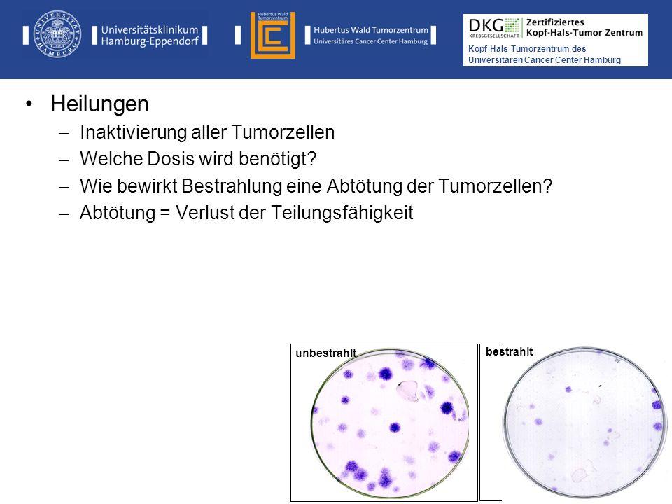 Heilungen Inaktivierung aller Tumorzellen Welche Dosis wird benötigt