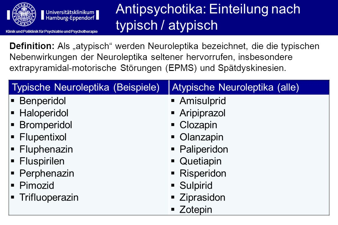 Antipsychotika: Einteilung nach typisch / atypisch