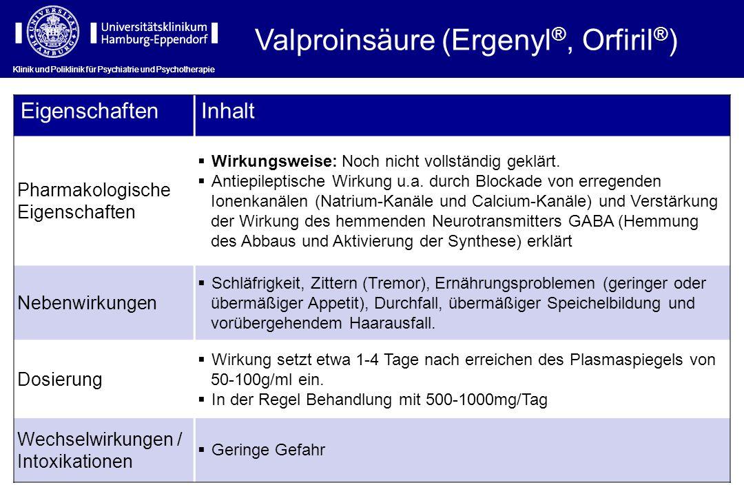 Valproinsäure (Ergenyl®, Orfiril®)