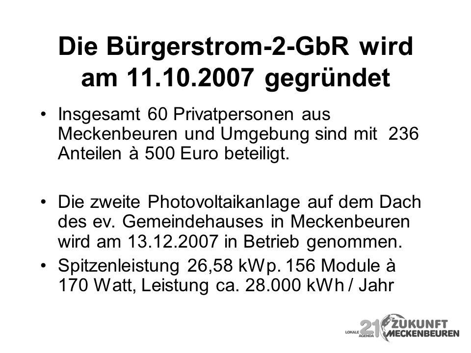 Die Bürgerstrom-2-GbR wird am 11.10.2007 gegründet