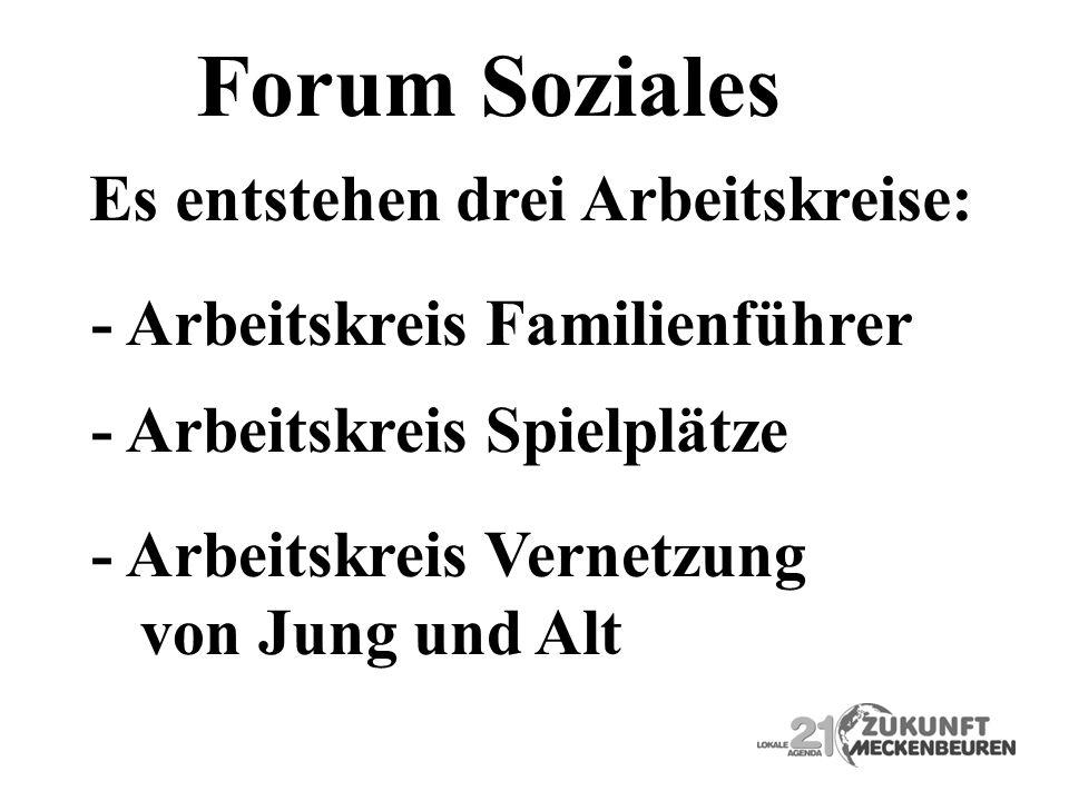 Forum Soziales Es entstehen drei Arbeitskreise: