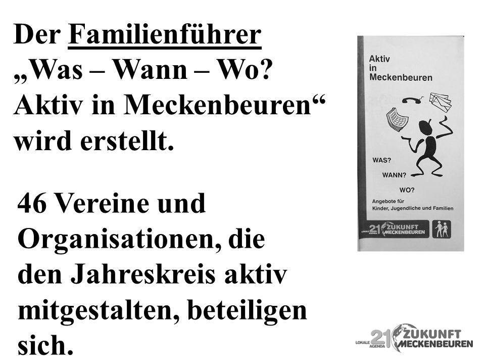 """Der Familienführer """"Was – Wann – Wo Aktiv in Meckenbeuren wird erstellt. 46 Vereine und. Organisationen, die."""