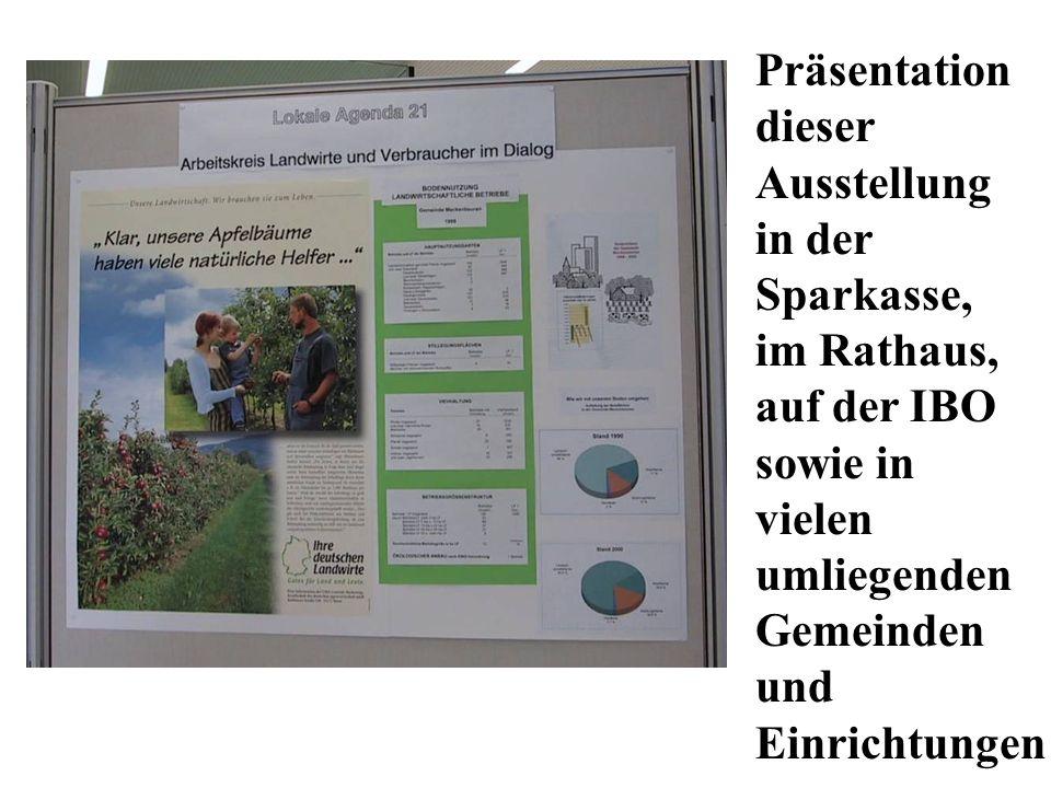 Präsentation dieser. Ausstellung. in der. Sparkasse, im Rathaus, auf der IBO. sowie in. vielen.