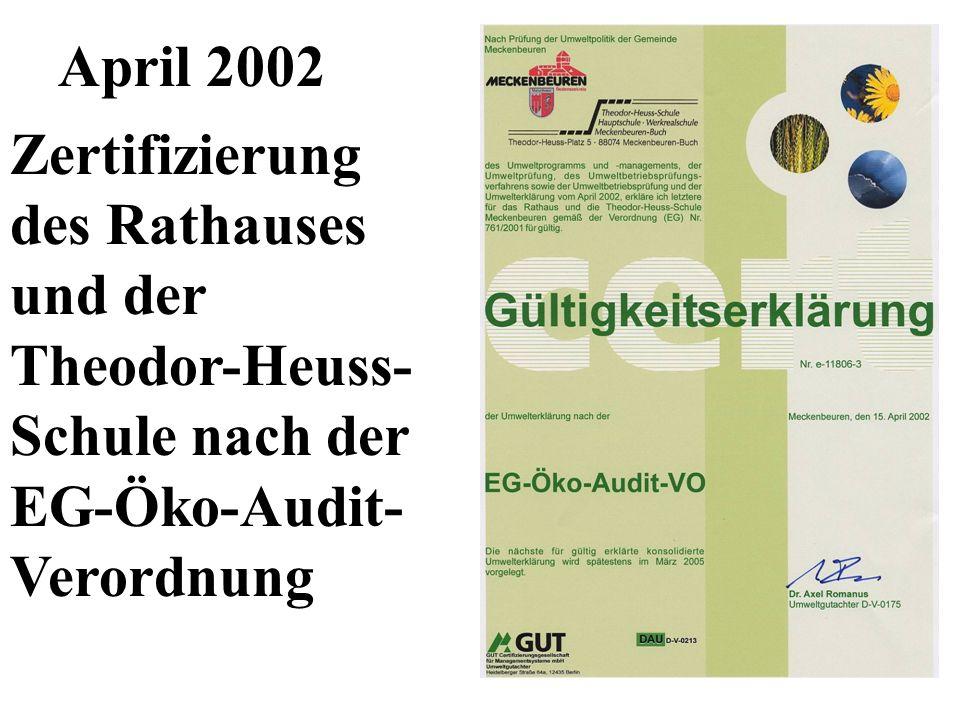 April 2002 Zertifizierung des Rathauses. und der. Theodor-Heuss- Schule nach der. EG-Öko-Audit-