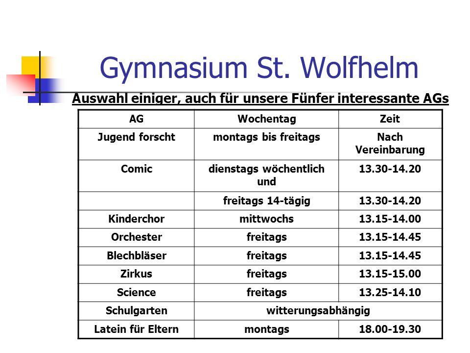 Gymnasium St. Wolfhelm Auswahl einiger, auch für unsere Fünfer interessante AGs. AG. Wochentag. Zeit.