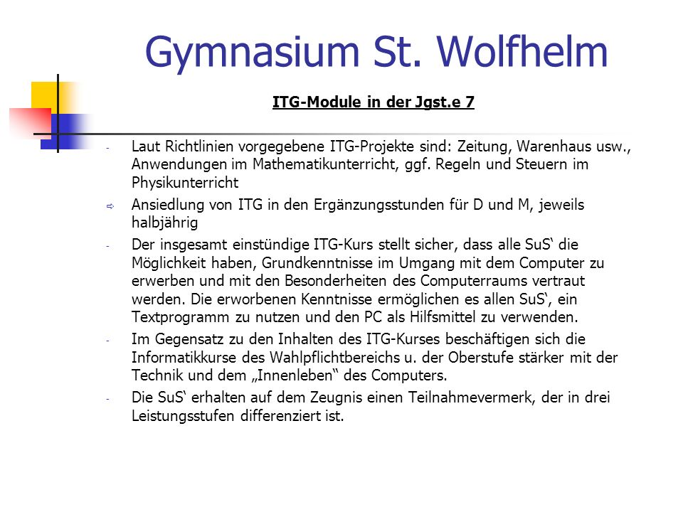 ITG-Module in der Jgst.e 7