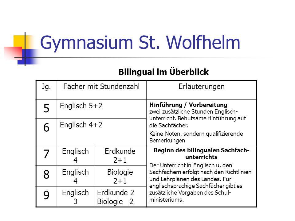 Bilingual im Überblick Beginn des bilingualen Sachfach-unterrichts