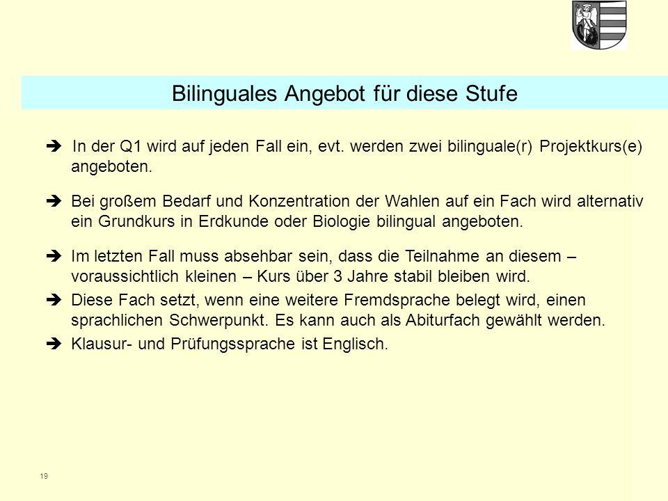 Bilinguales Angebot für diese Stufe