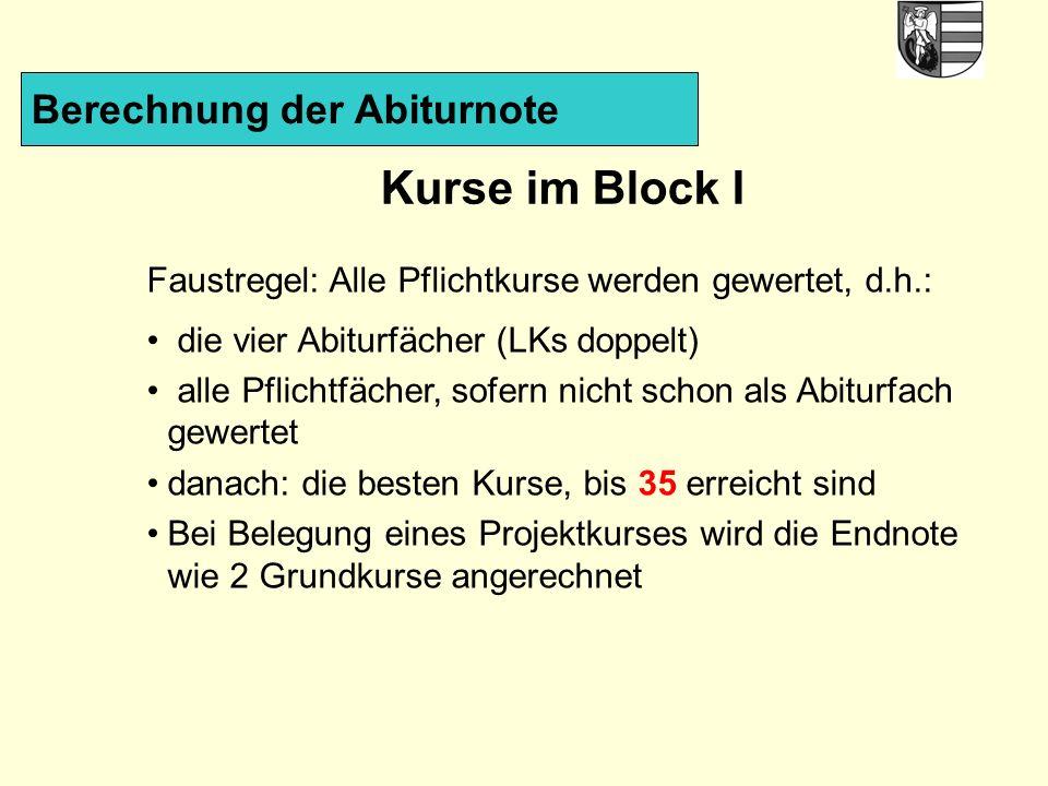 Kurse im Block I Berechnung der Abiturnote