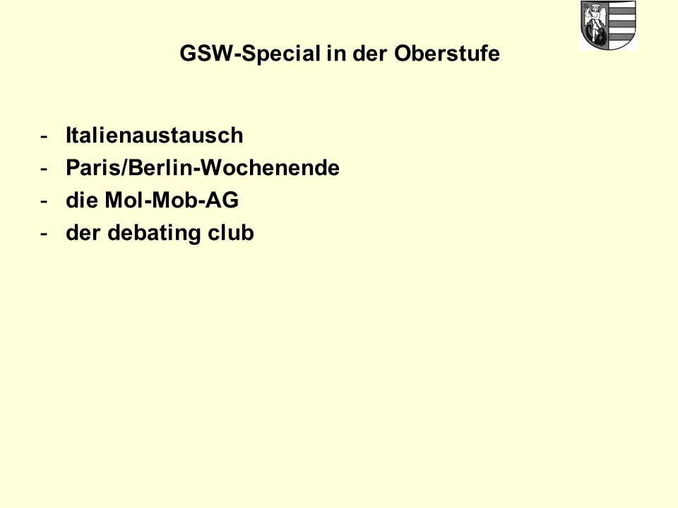 GSW-Special in der Oberstufe