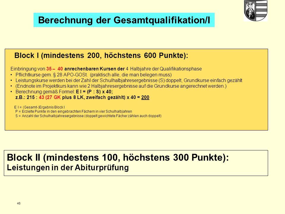 Berechnung der Gesamtqualifikation/I