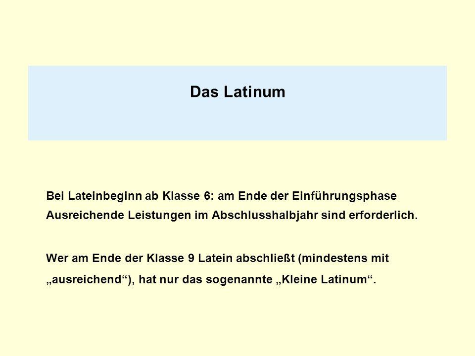 Das LatinumBei Lateinbeginn ab Klasse 6: am Ende der Einführungsphase Ausreichende Leistungen im Abschlusshalbjahr sind erforderlich.
