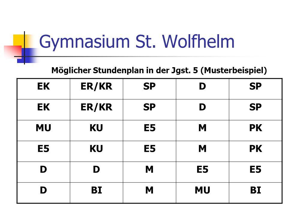 Möglicher Stundenplan in der Jgst. 5 (Musterbeispiel)