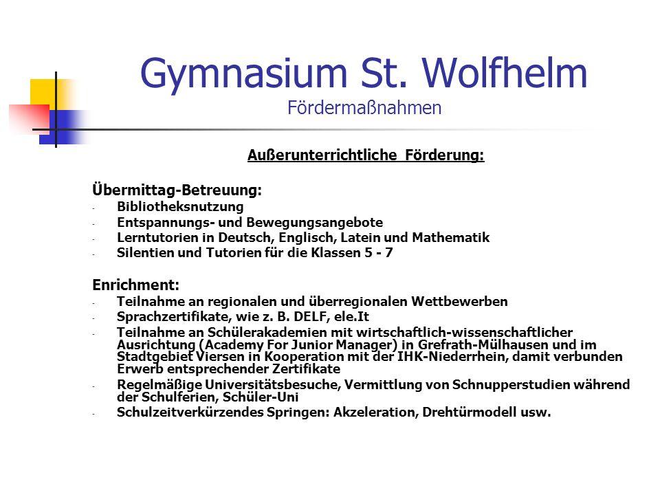 Gymnasium St. Wolfhelm Fördermaßnahmen