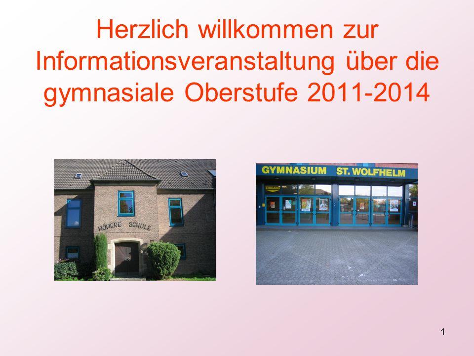 Herzlich willkommen zur Informationsveranstaltung über die gymnasiale Oberstufe 2011-2014