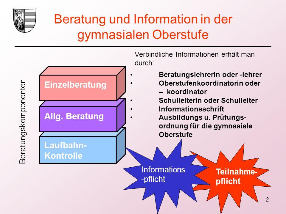 Beratung und Information in der gymnasialen Oberstufe