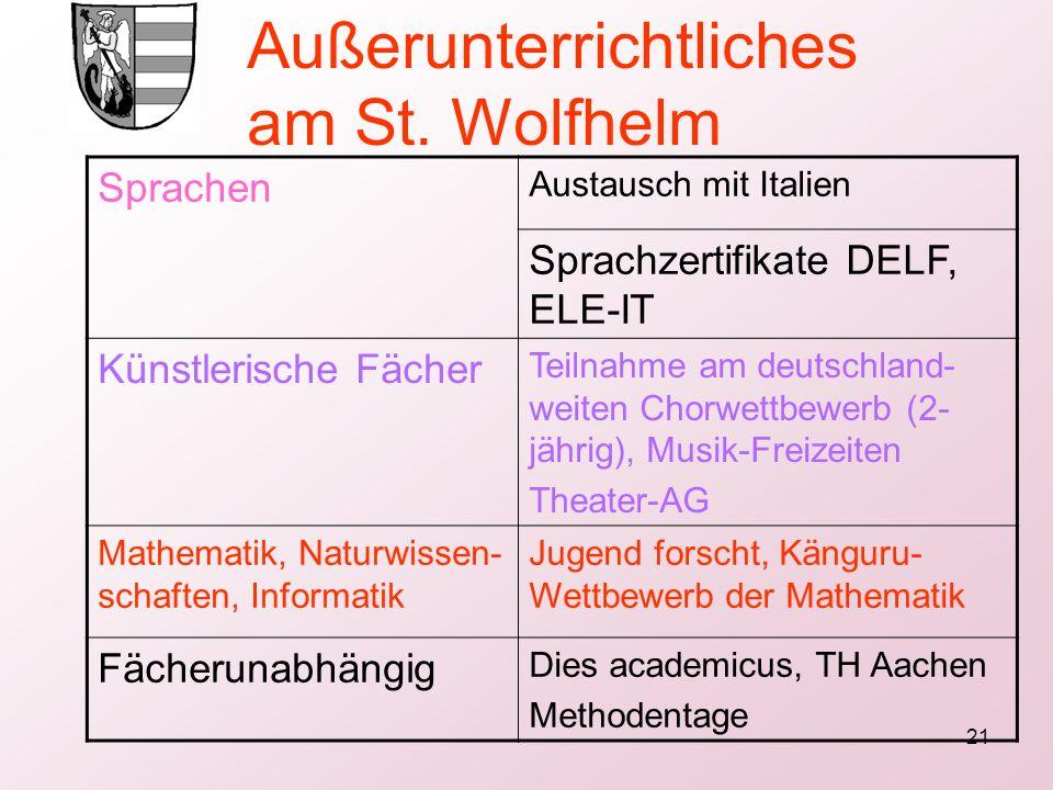 Außerunterrichtliches am St. Wolfhelm
