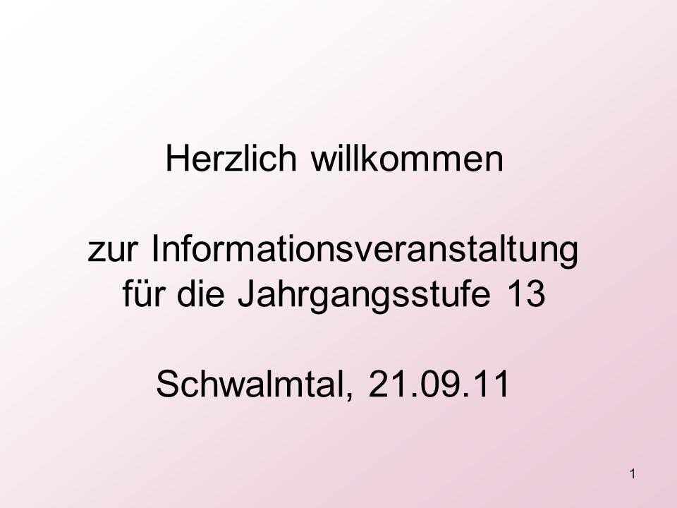 Herzlich willkommen zur Informationsveranstaltung für die Jahrgangsstufe 13 Schwalmtal, 21.09.11